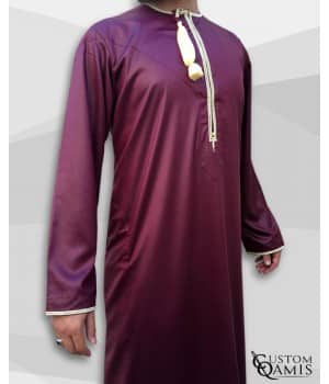 Custom Qamis Omani bordeaux or
